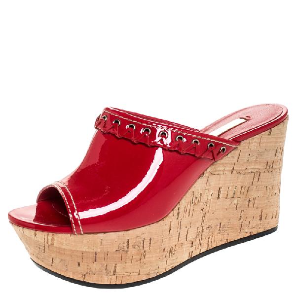 Casadei Red Patent Leather Cork Platform Wedge Sandals Size 37.5