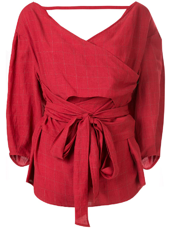 Muller Of Yoshiokubo Lattice Cache-coeur Blouse In Red