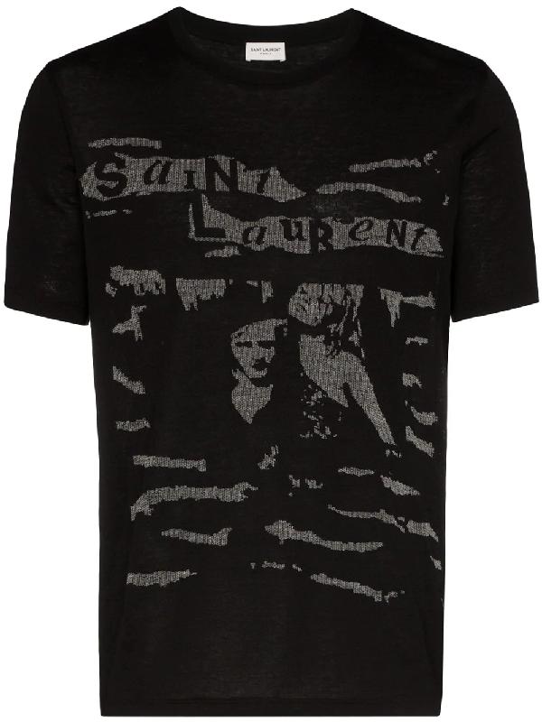 Saint Laurent Graphic-print Cotton-knit T-shirt In Black