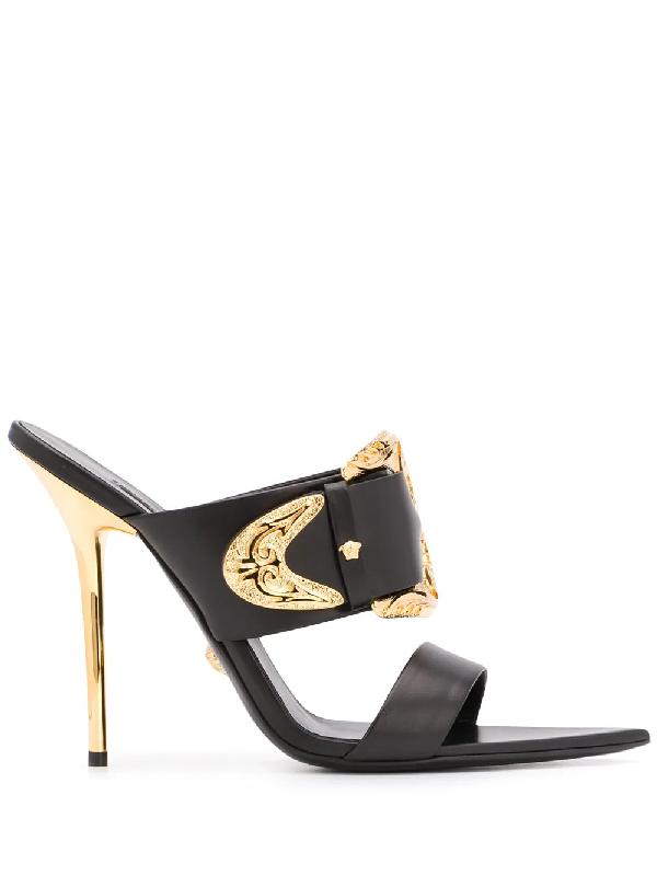 Versace Baroque Buckle Sandals In Black