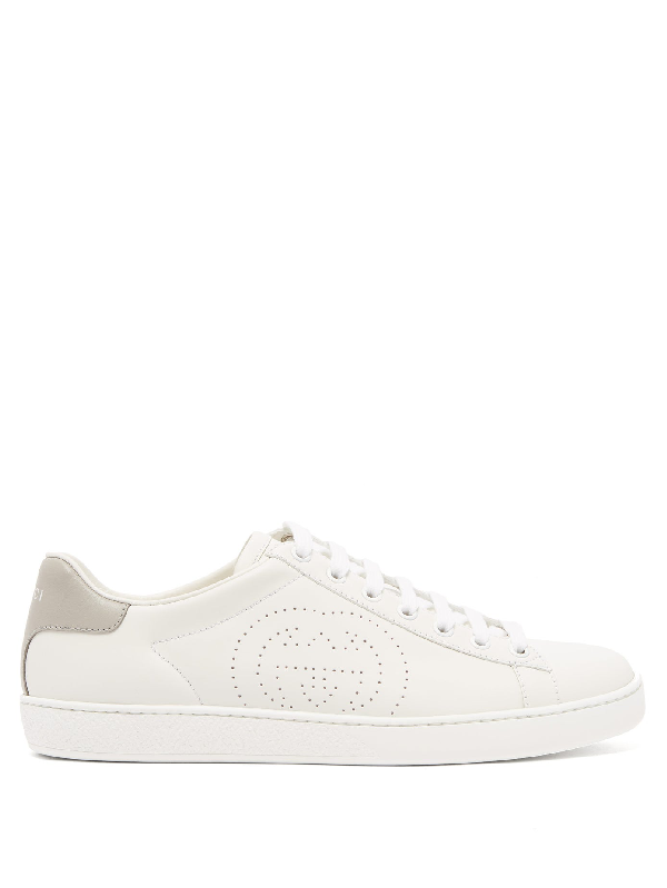Gucci White & Grey Interlocking G New Ace Sneakers In White Leather
