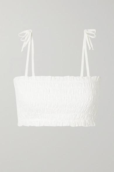 Verdelimon Missouri Shirred Broderie Anglaise Cotton Bikini Top In White
