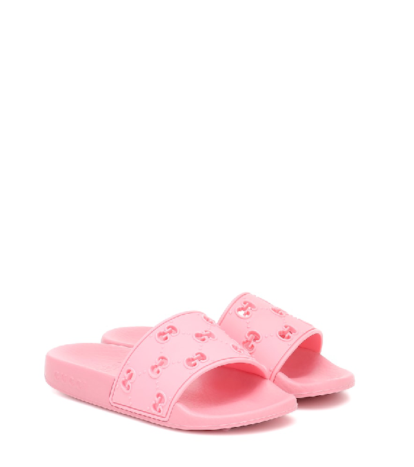 Gucci Gg Cutout Slide Sandals, Toddler/kids In Pink Rubber