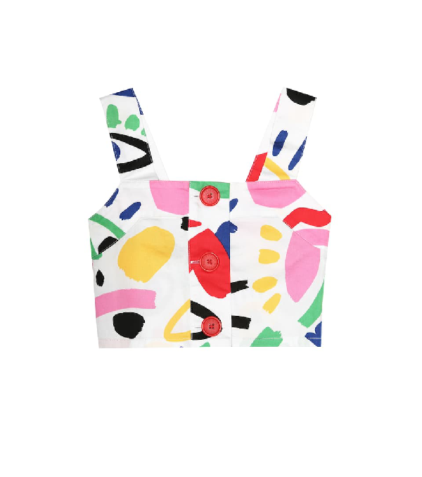 Stella Mccartney Kids' Girl's Graphic Face Sleeveless Crop Top In White