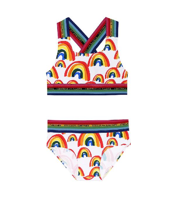 Stella Mccartney Kids' Girl's Rainbow Printed Two-piece Bikini Set In 白色