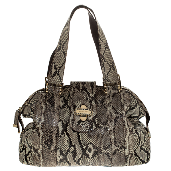 Michael Kors Micheal Kors Cream/black Python Turnlock Satchel