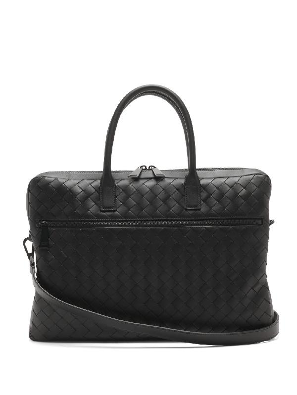 Bottega Veneta Intrecciato Leather Briefcase In Black