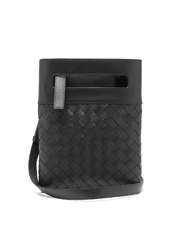 Bottega Veneta Intrecciato Small Leather Cross-body Bag In Black