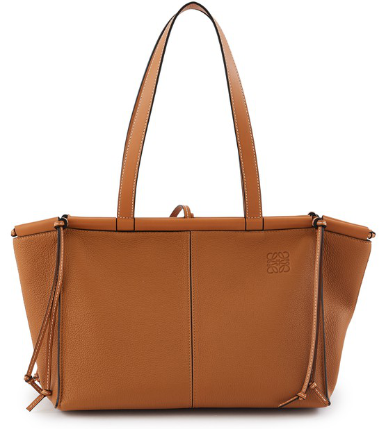 Loewe Small Cushion Leather Convertible Gusset Tote In Brown