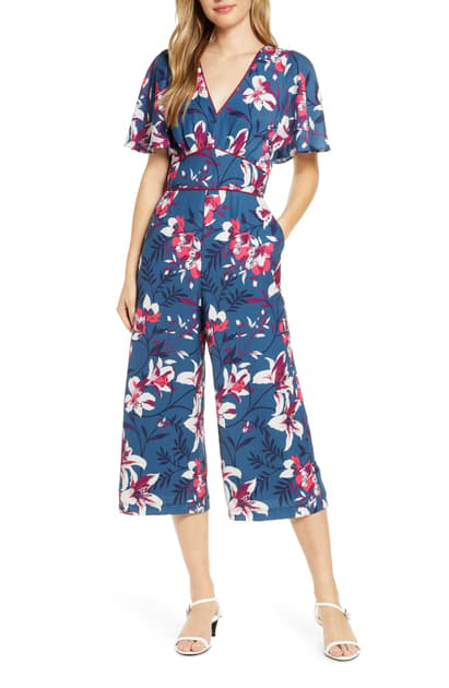 Adelyn Rae Shayne Floral Jumpsuit In Blue Multi