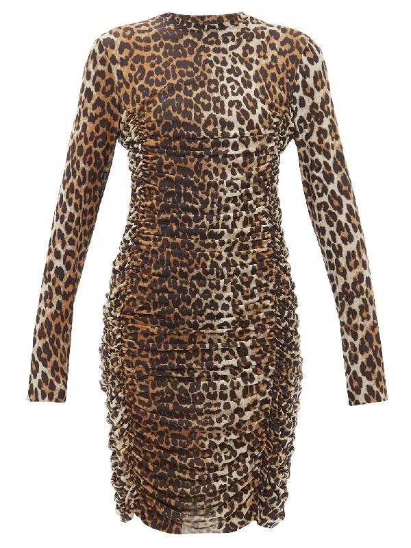 Ganni Ruched Leopard-print Stretch-mesh Mini Dress In Brown