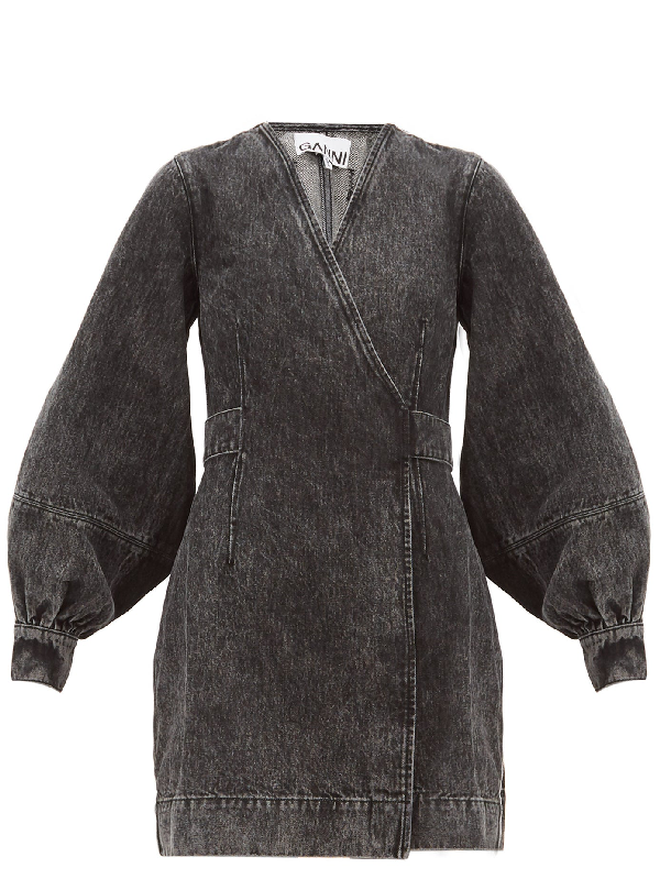 Ganni Wrap-effect Denim Mini Dress In Gray
