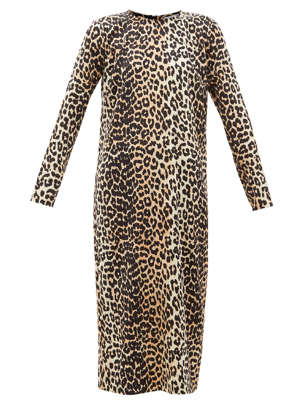 Ganni Silk Leopard Print Stretch Satin Dress Colour: Brown