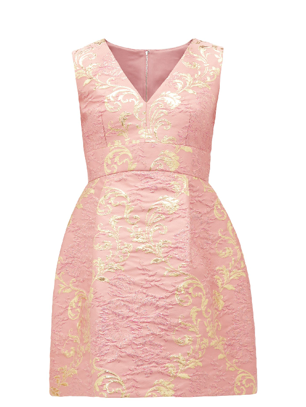 Dolce & Gabbana Floral-brocade Mini Dress In Pink Multi