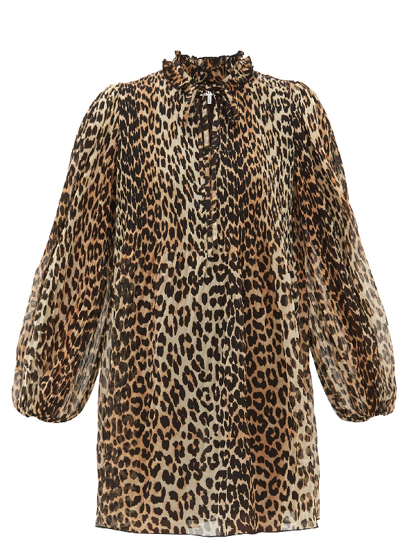 Ganni Leopard Print Pleated Georgette Long Sleeve Minidress In Multicolour