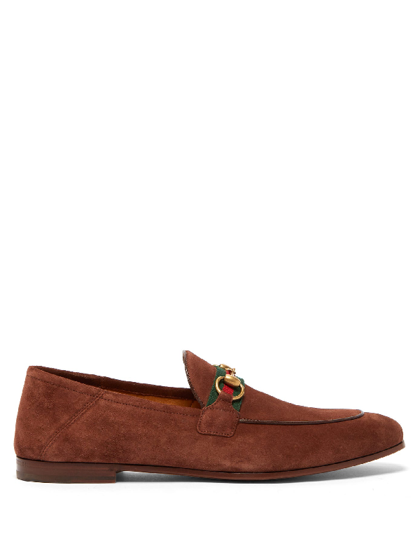 Gucci Brixton Horsebit Webbing-trimmed Collapsible-heel Suede Loafers In Brown