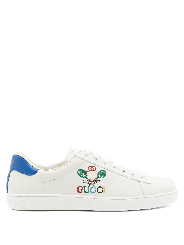 Gucci New Ace Tennis-embroidered Leather Low-top Trainers In White/microsoft