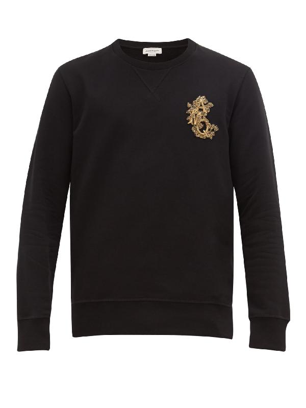 Alexander Mcqueen Logo-embellished Loopback Cotton-jersey Sweatshirt In Black