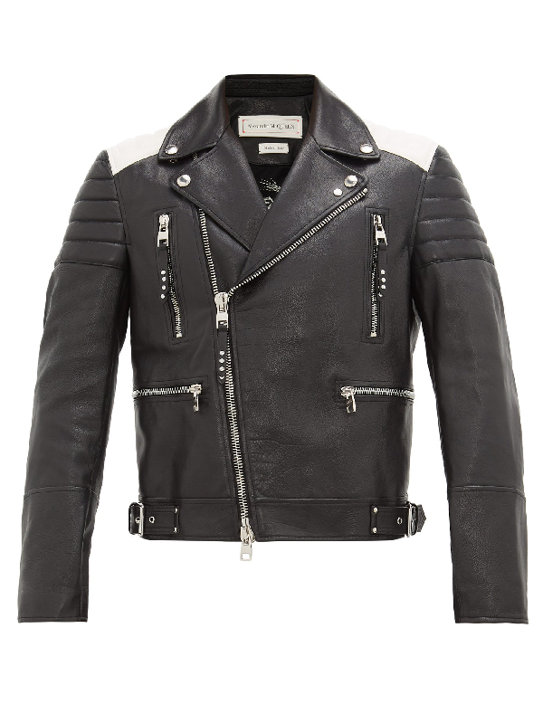 Alexander Mcqueen Color-block Full-grain Leather Biker Jacket In Black