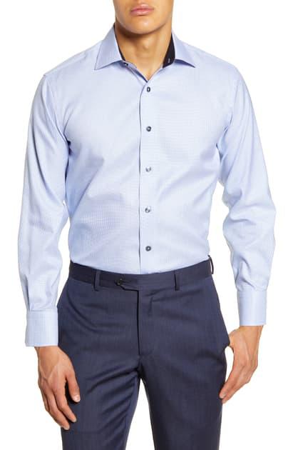 Lorenzo Uomo Trim Fit Check Dress Shirt In Light Blue