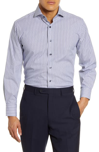 Lorenzo Uomo Trim Fit Stretch Stripe Dress Shirt In Navy/ White