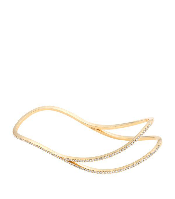 Atelier Swarovski X Paige Novick Yellow Gold, Diamond And Topaz Arc-en-ciel Palm Cuff Bracelet