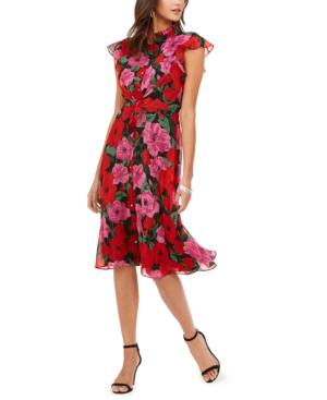 Julia Jordan Floral Flutter Sleeve Fit & Flare Dress In Red Floral