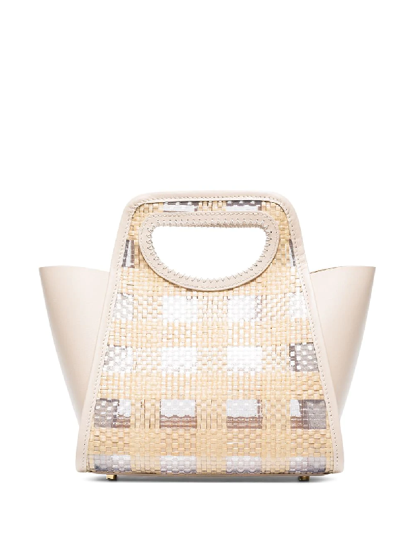Elleme Neutral Cupidon Small Leather And Raffia Tote Bag In Neutrals