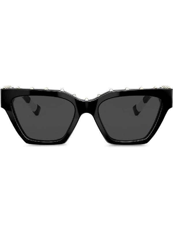 Valentino Square Frame Sunglasses With Studs In Black