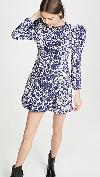 Ulla Johnson Wren Floral Long Sleeve Denim Dress In Blue