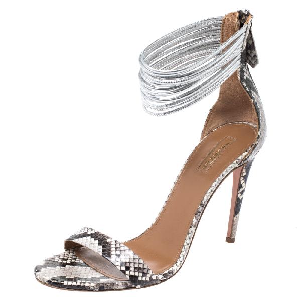 Aquazzura Monochrome Python Spin Me Around Strappy Sandals Size 41 In Multicolor
