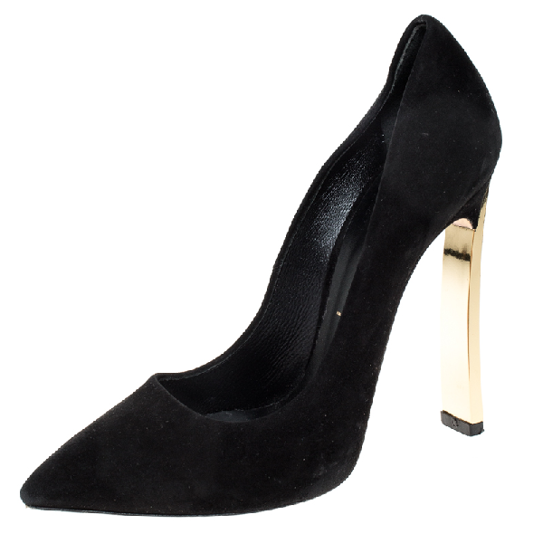 Casadei Black Suede Leather Pointed Toe Pumps Size 37.5