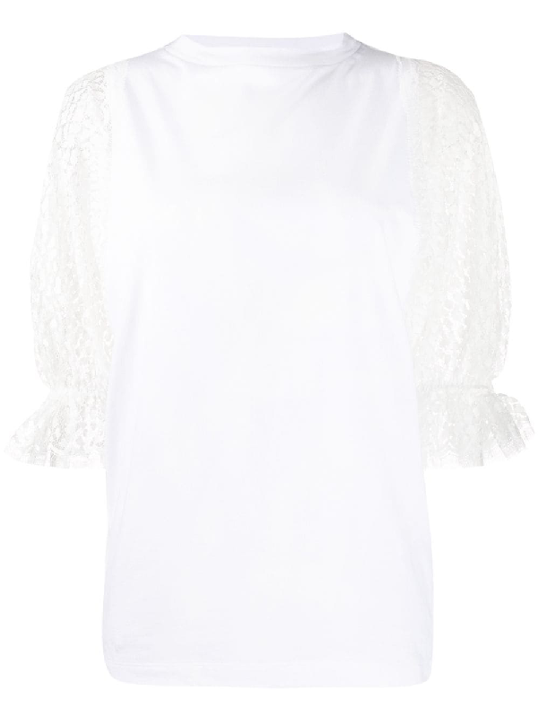 Givenchy Cotton T-shirt With Lace Inserts On The Sleeves In White