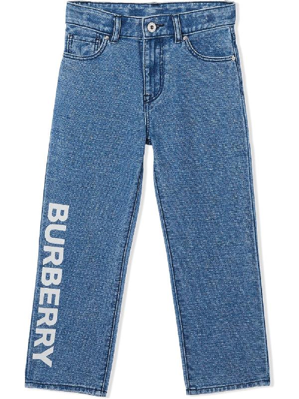 Burberry Kids' Logo Print Japanese Jeans In Blue