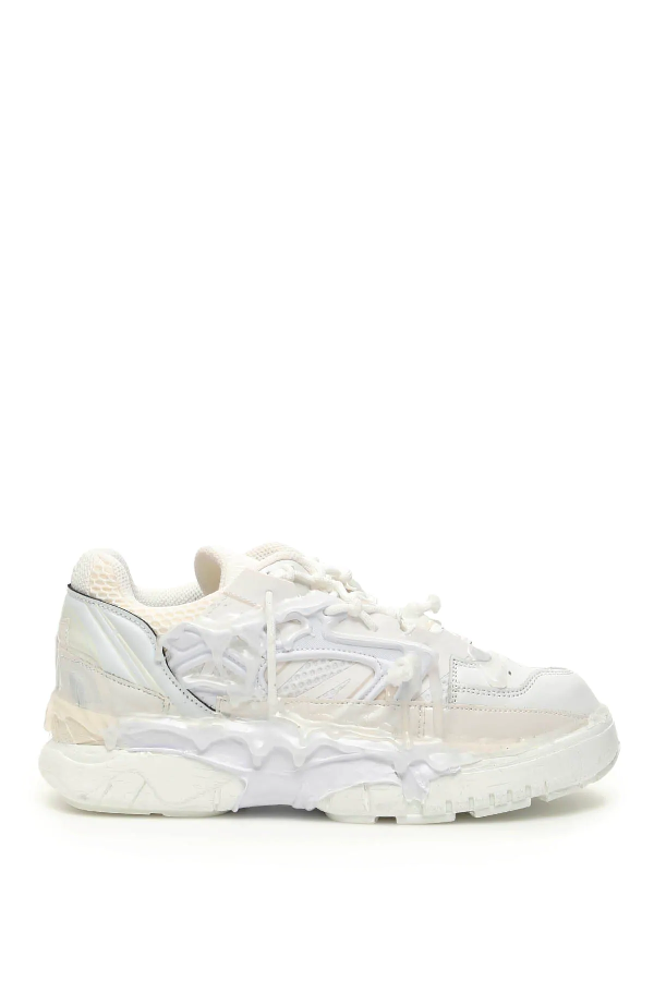 Maison Margiela Fusion Leather, Nylon And Mesh Sneakers In White