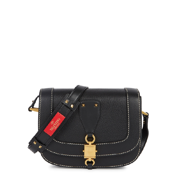 Valentino Garavani Garavani Vlocker Small Black Leather Saddle Bag