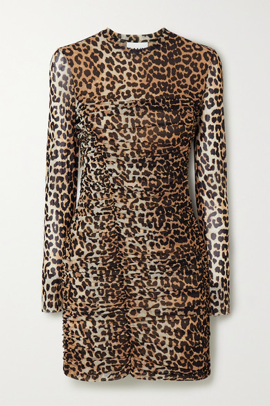 Ganni Ruched Leopard-print Stretch-mesh Mini Dress In Brown ,neutral