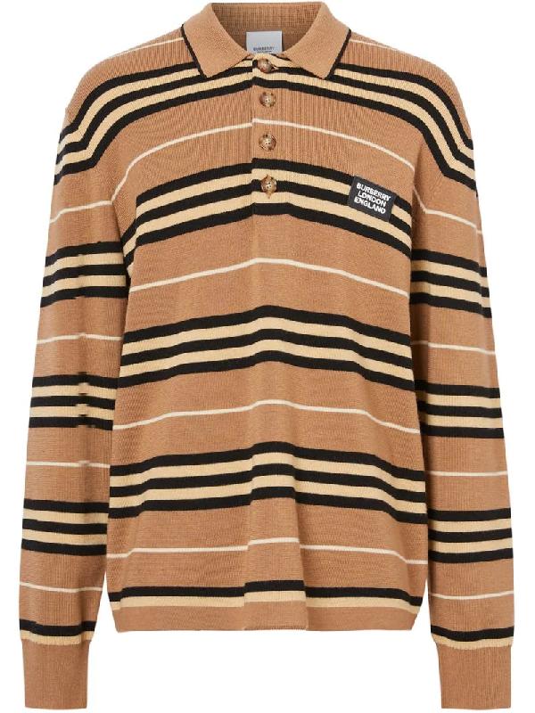 Burberry 棕色 Icon Stripe 长袖 Polo 衫 In Neutrals