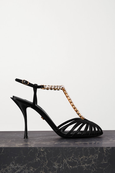 Dolce & Gabbana Dolce And Gabbana Black Crystal Strap Heeled Sandals In 80999 Black