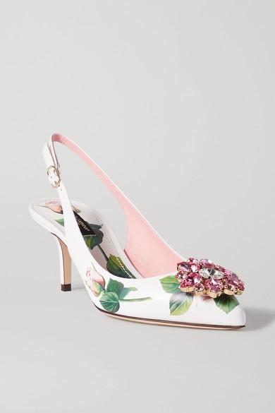 Dolce & Gabbana Crystal-embellished Floral-print Leather Slingback Pumps In White