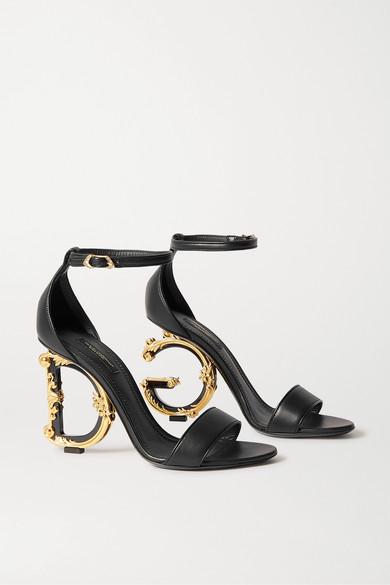 Dolce & Gabbana Polished Calfskin Sandals With Dg Baroque Heel In Black