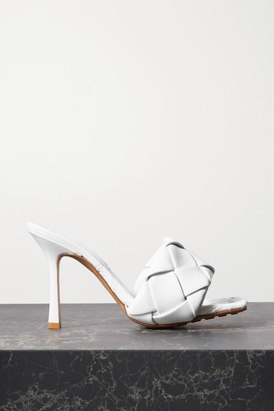 Bottega Veneta White Bv Lido 45 Intrecciato Leather Sandals
