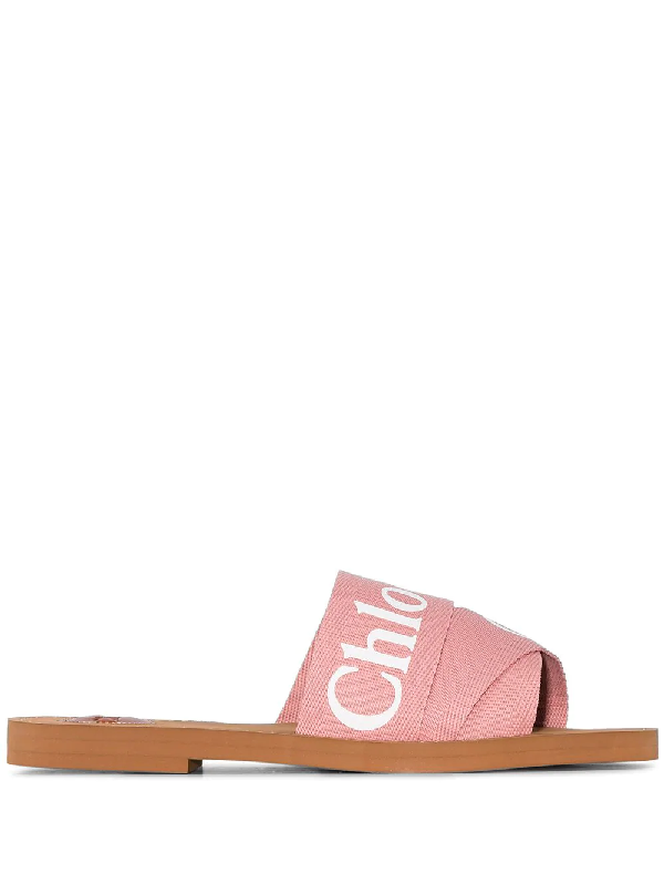 ChloÉ Woody Flat Logo Ribbon Slide Sandals In 粉色