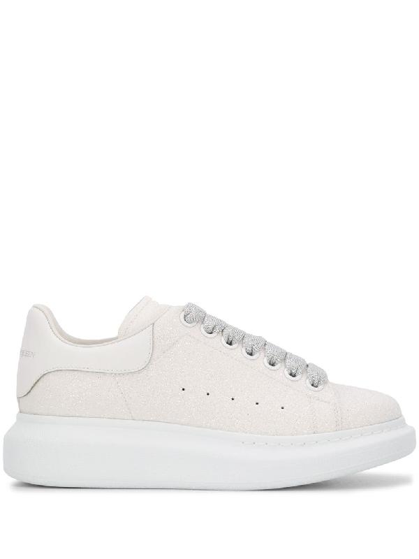Alexander Mcqueen Glitter Oversized Sneakers In White