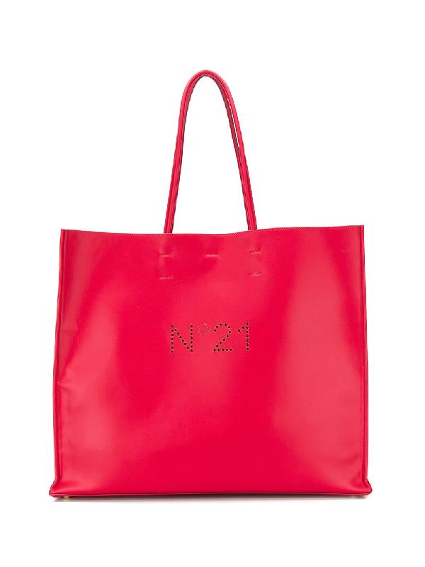 N°21 Grosser Shopper Mit Perforiertem Logo In Red