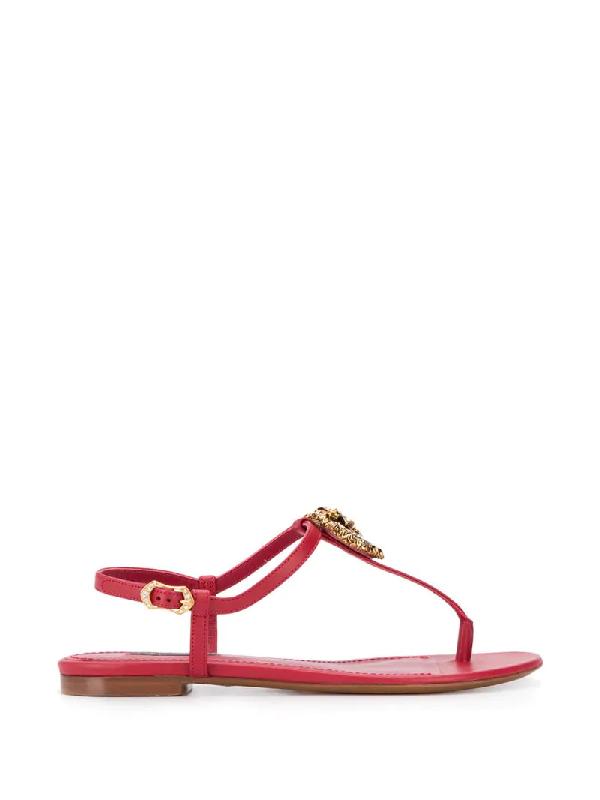 Dolce & Gabbana Devotion Flat Sandals In Red