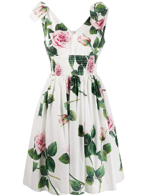 Dolce & Gabbana Rose Print Tie-shoulder Fit-&-flare Dress In White