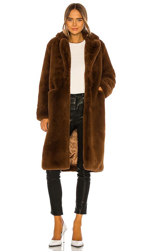 Apparis Laure Faux Fur Coat In Brown. In Chocolat