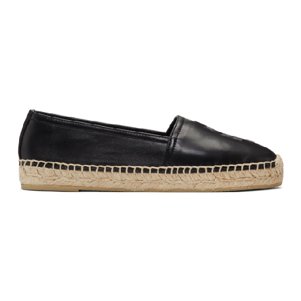 Saint Laurent Black Metallic Leather Espadrilles With Logo In 1000 Black