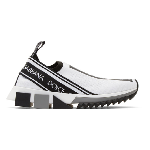 Dolce & Gabbana Dolce And Gabbana White Logo Sorrento Runner Sneakers In 89697 White